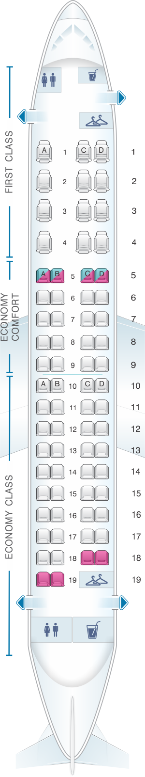 Seat map for Delta Air Lines Embraer E175 SC SkyWest