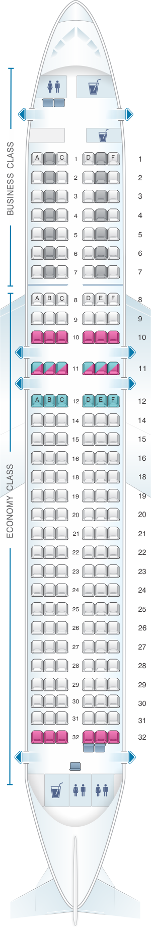 Seat map for Lufthansa Airbus A320neo