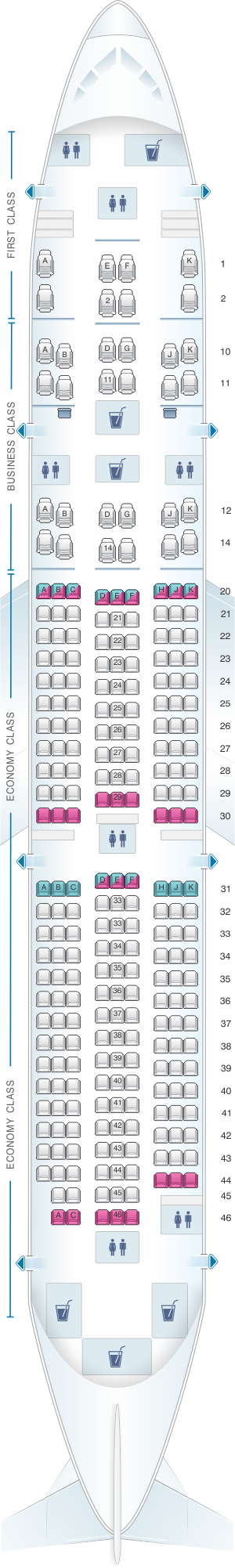 Seat map for Oman Air Boeing B787 9 V2