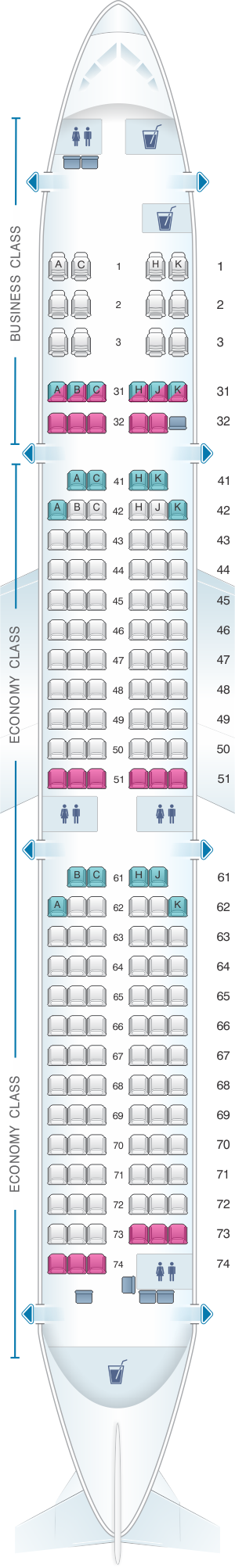 Seat map for Philippine Airlines Airbus A321 200neo