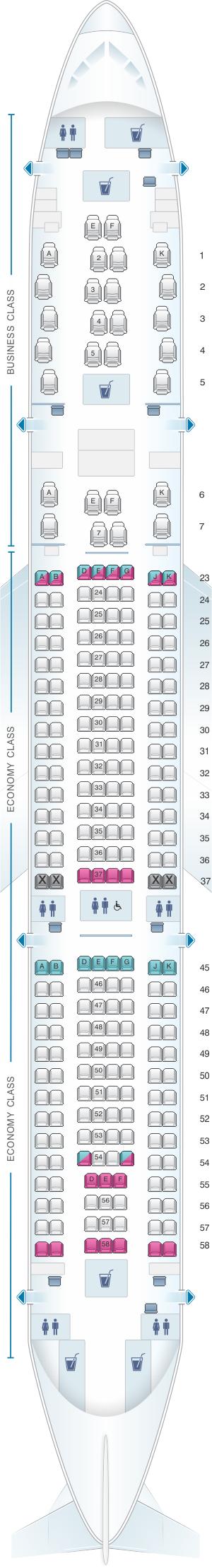Seat map for Qantas Airways Airbus A330 200 Domestic 251PAX