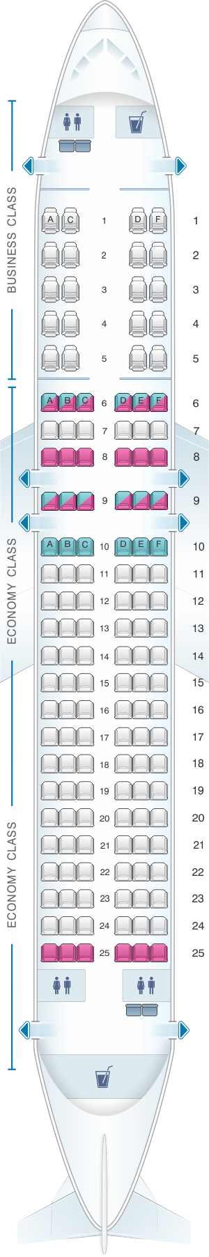 Seat map for Rossiya Airlines Airbus A320 140PAX