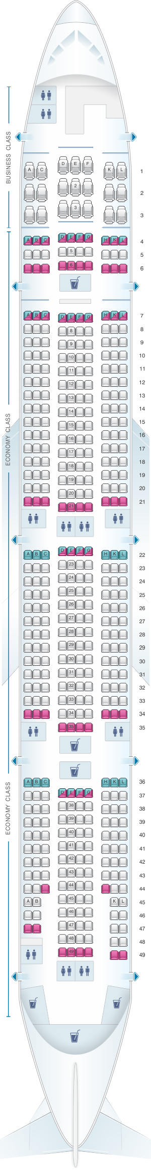 Seat map for Rossiya Airlines Boeing B777 300ER
