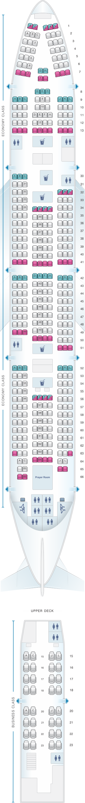 Seat map for Saudi Arabian Airlines Boeing B747 468