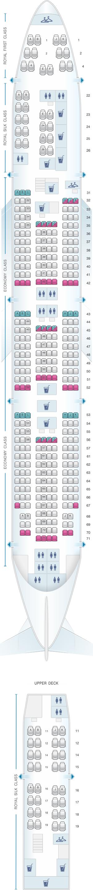Seat map for Thai Airways International Boeing B747 400 (744)