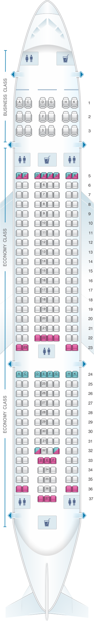 Seat map for Vietnam Airlines Airbus A330 200 269PAX