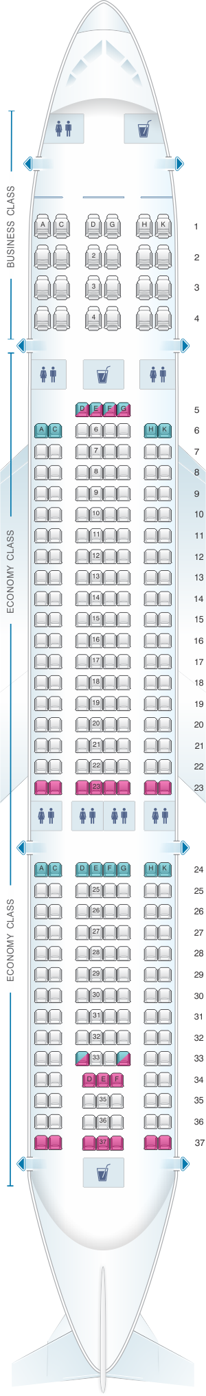 Seat map for Vietnam Airlines Airbus A330 200 280PAX V2