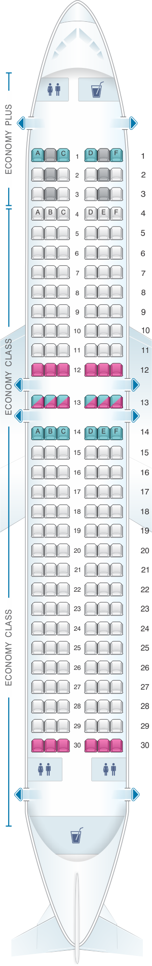 Seat map for WestJet Boeing B737 MAX 8