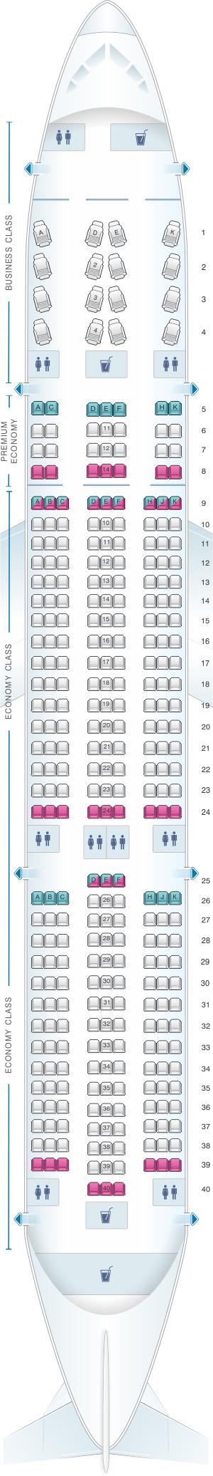 Seat map for WestJet Boeing B787 9