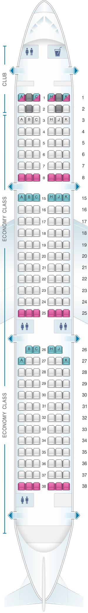 Seat map for Air Transat Airbus A321 Canada
