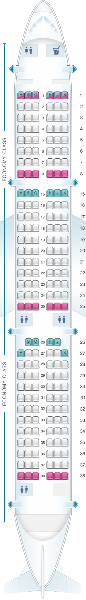 Seat map for Air Transat Airbus A321 US and South