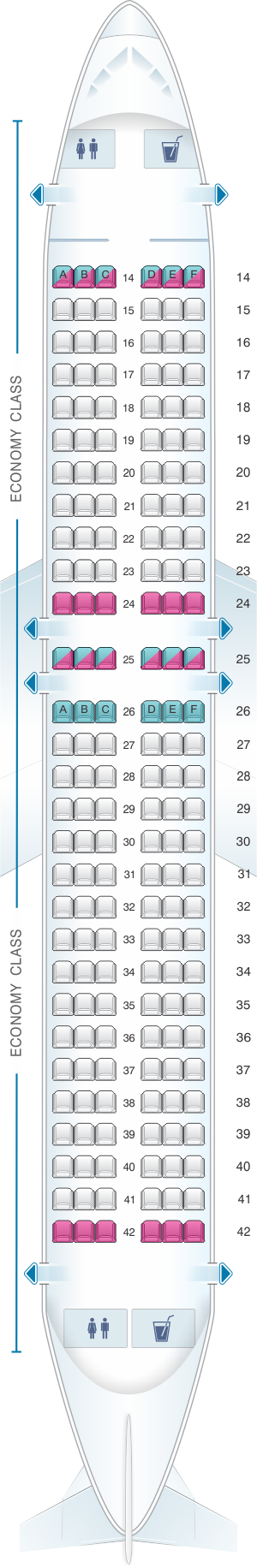 Seat map for Azal Azerbaijan Airlines Airbus A320 all economy