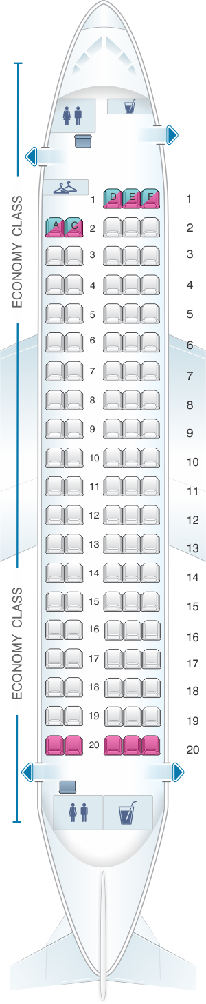 Seat map for Brussels Airlines Sukhoi Superjet 100