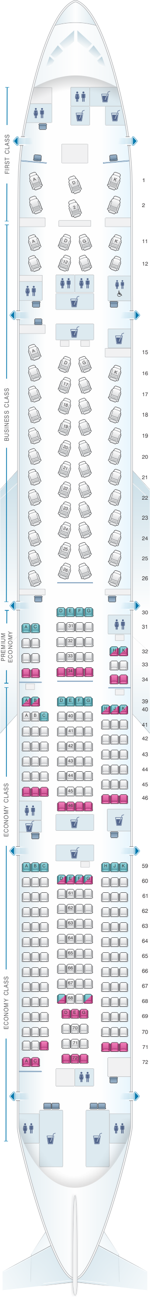 Seat map for Cathay Pacific Airways Boeing B777 300 (77A)