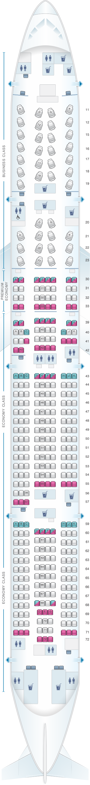 Seat map for Cathay Pacific Airways Boeing B777 300 (77K)