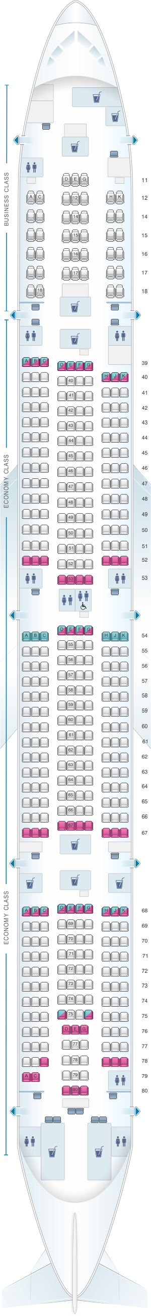 Seat map for Cathay Pacific Airways Boeing B777 300 (77P)