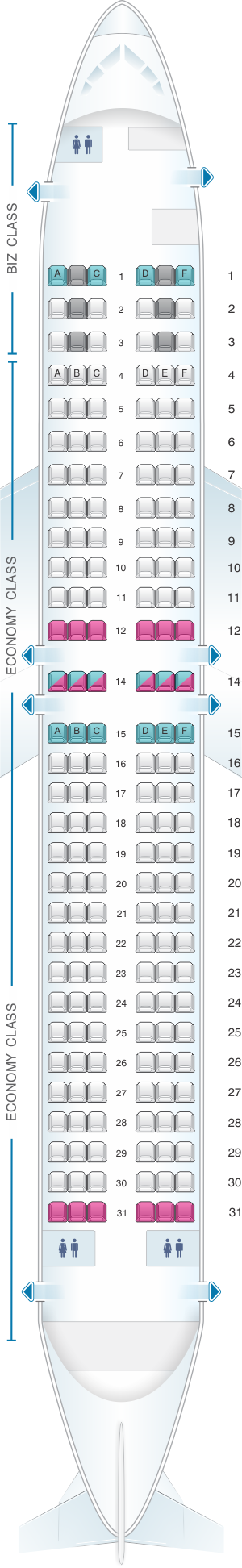 Seat map for Eurowings Boeing B737 800