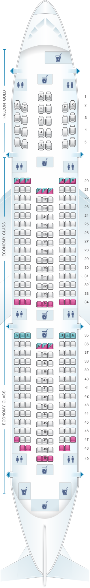 Seat map for Gulf Air Boeing B787 9