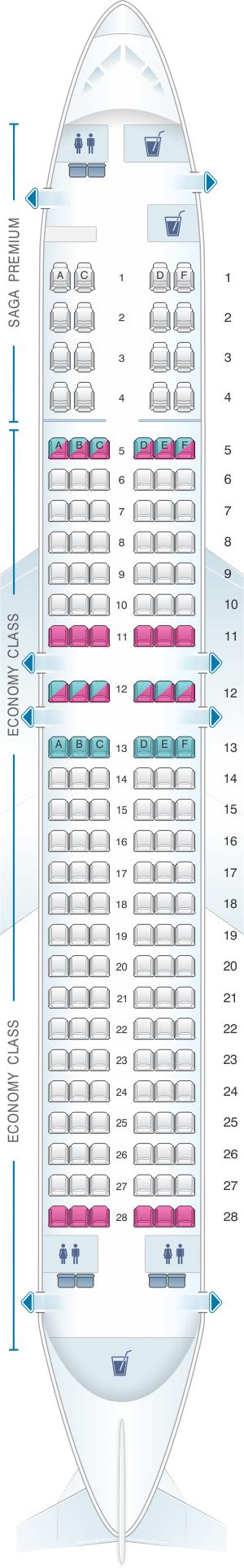 Seat map for Icelandair Boeing B737 MAX 8