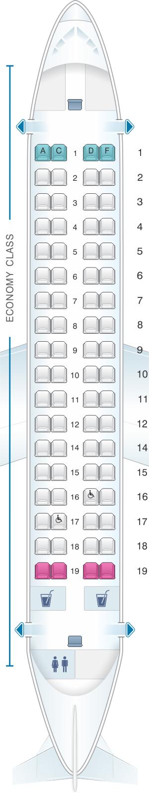 Seat map for Jet Airways ATR 72 500 72PAX