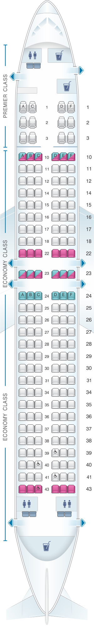 Seat map for Jet Airways Boeing B737 MAX 8