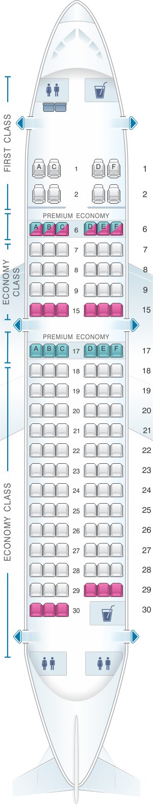 Seat map for Alaska Airlines - Horizon Air Airbus A319 112