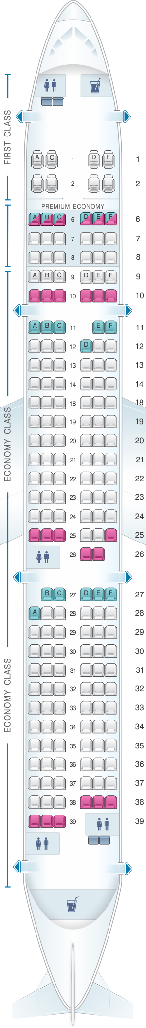 Seat map for Alaska Airlines - Horizon Air Airbus A321 NEO