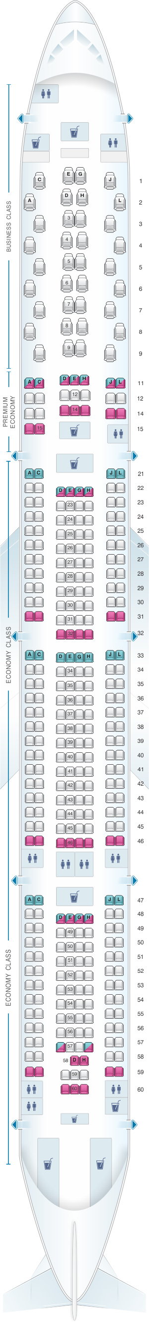 Seat map for Iberia Airbus A340 600 V2
