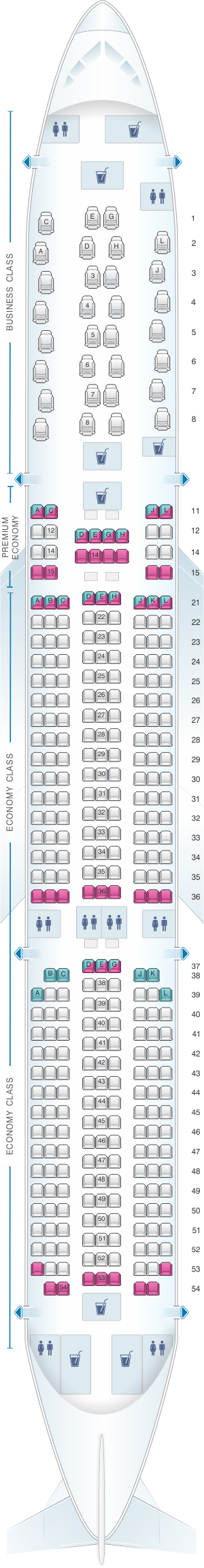 Seat map for Iberia Airbus A350 900