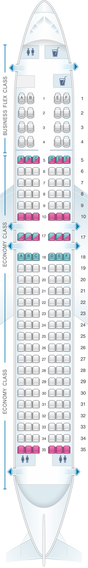 Seat map for Copa Airlines Boeing B737 MAX 9
