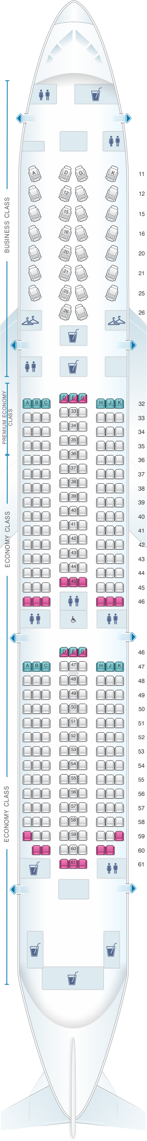 Seat map for Hainan Airlines Boeing B787-9 config.2