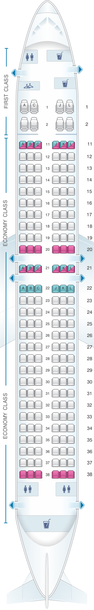 Seat map for Air China Boeing B737 MAX 8