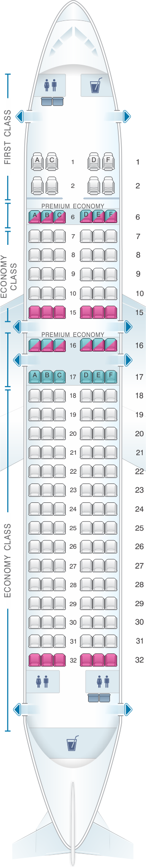 Seat map for Alaska Airlines - Horizon Air Airbus A320 214