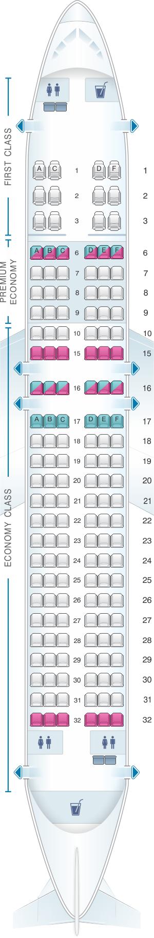 Seat map for Alaska Airlines - Horizon Air Airbus A320 214 retrofit