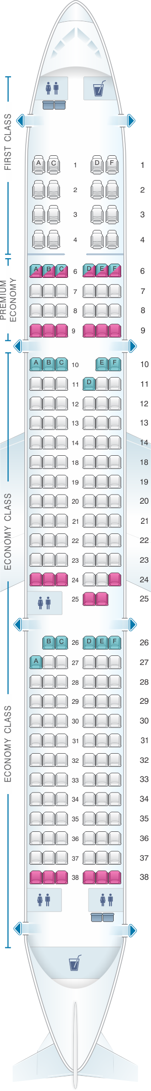 Seat map for Alaska Airlines - Horizon Air Airbus A321 NEO retrofit