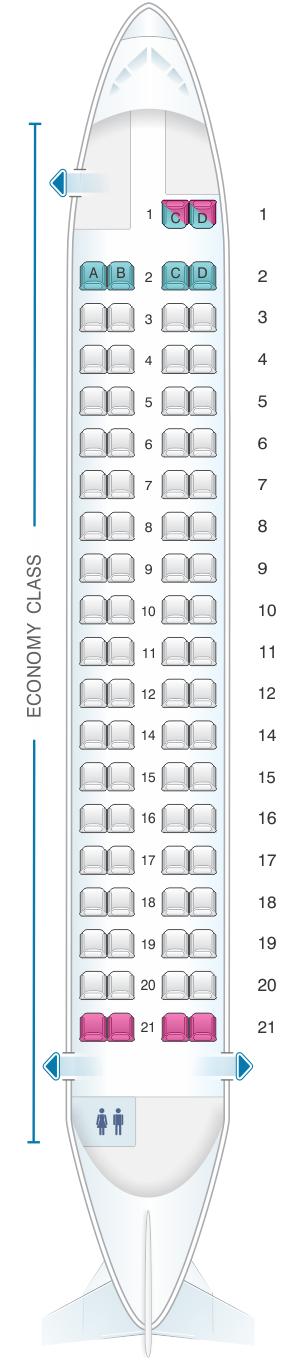 Seat map for Cebu Pacific Air ATR 72 600