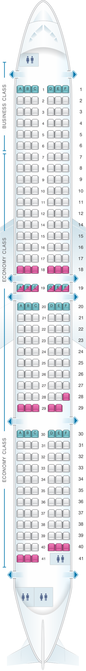 Seat map for Cebu Pacific Air Airbus A321 neo