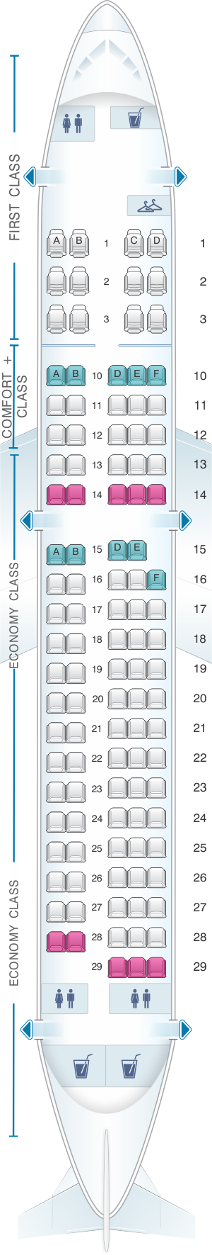 Seat map for Delta Airlines Airbus A220 100