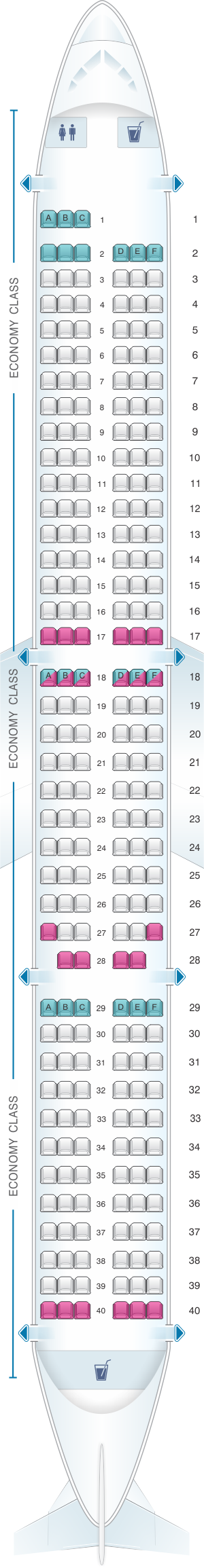Seat map for easyJet Aibus A321 Neo