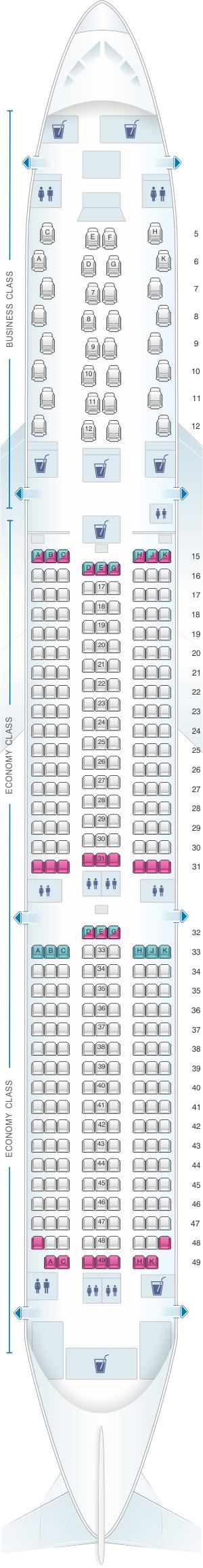 Seat map for Etihad Airways Boeing B787 10