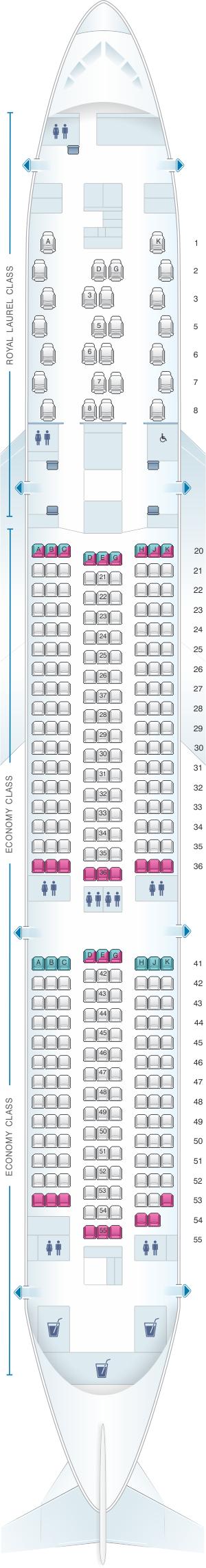 Seat map for Eva Air Boeing B787-9