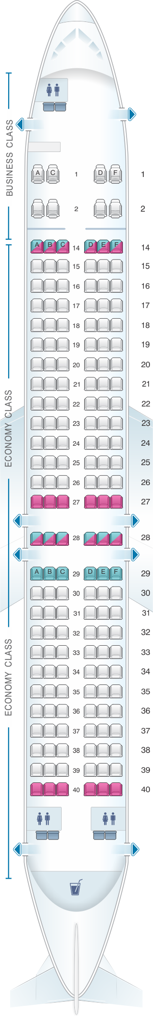 Seat map for Fiji Airways Boeing B737 MAX 8