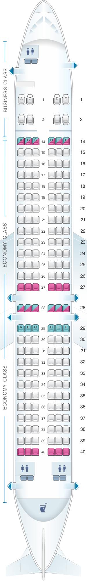 Seat map for Fiji Airways Boeing B737 MAX 8