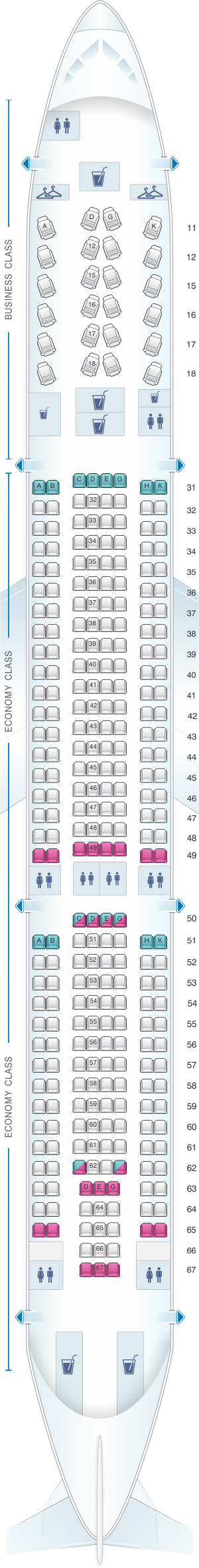 Seat map for Hainan Airlines Airbus A330 300 config.2