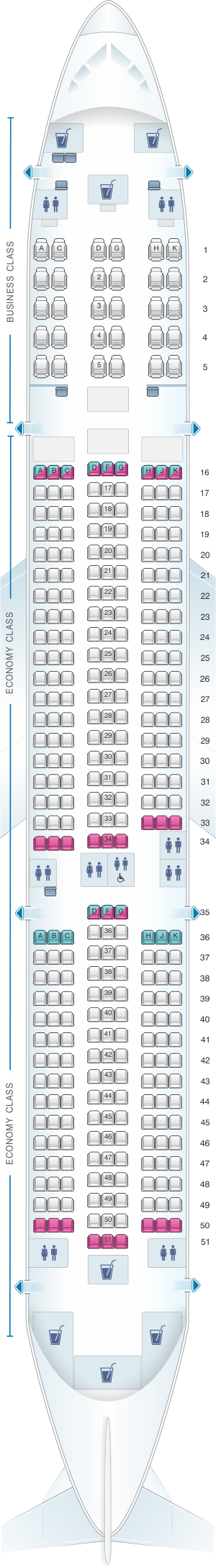 Seat map for Hainan Airlines Airbus A350 900 config.1
