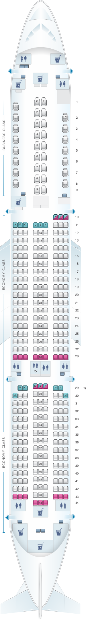 Seat map for Hainan Airlines Airbus A350 900 config.2