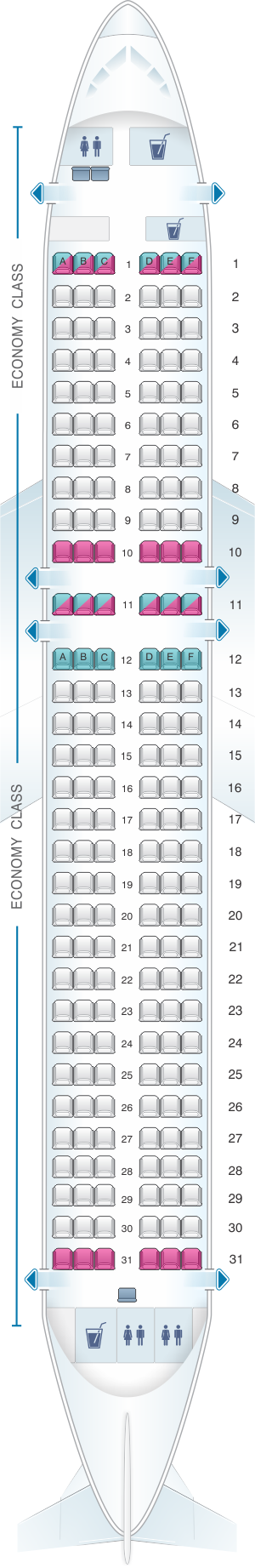 Seat map for IndiGo Airline Airbus A320 Neo