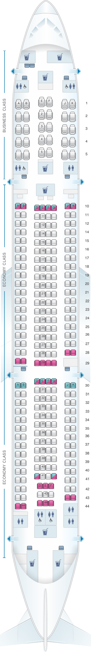 Seat map for Qatar Airways Airbus A330 300 395pax
