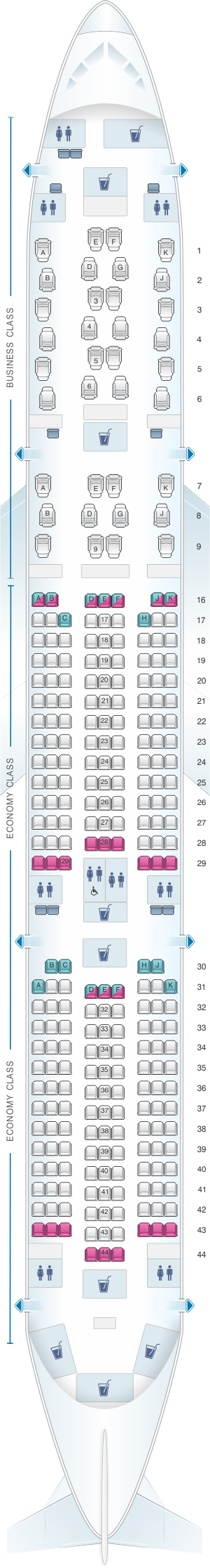 Seat map for Qatar Airways Airbus A350 900 Qsuite