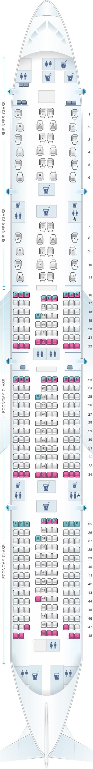 Seat map for Qatar Airways Boeing B777 300ER Qsuite